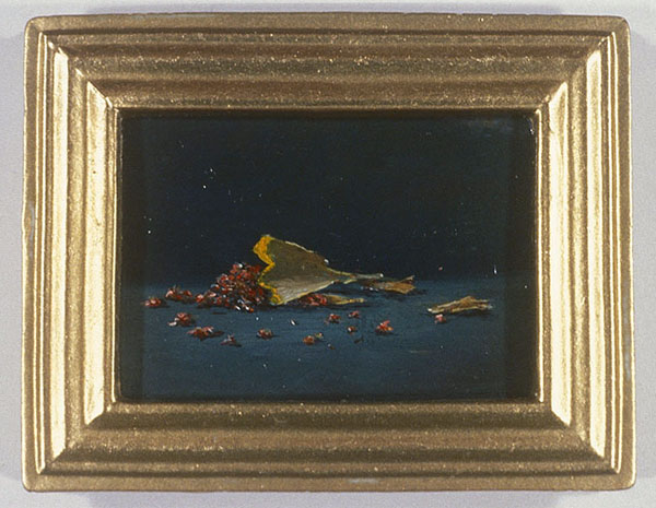 "David Lefkowitz,  Pictures of Common Detritus, Pencil Shavings,  2000, oil on wood, 2.25"" x 2.75""."