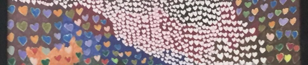 "Cropped painting by Lydia Thompson, called ""River of Hearts."""