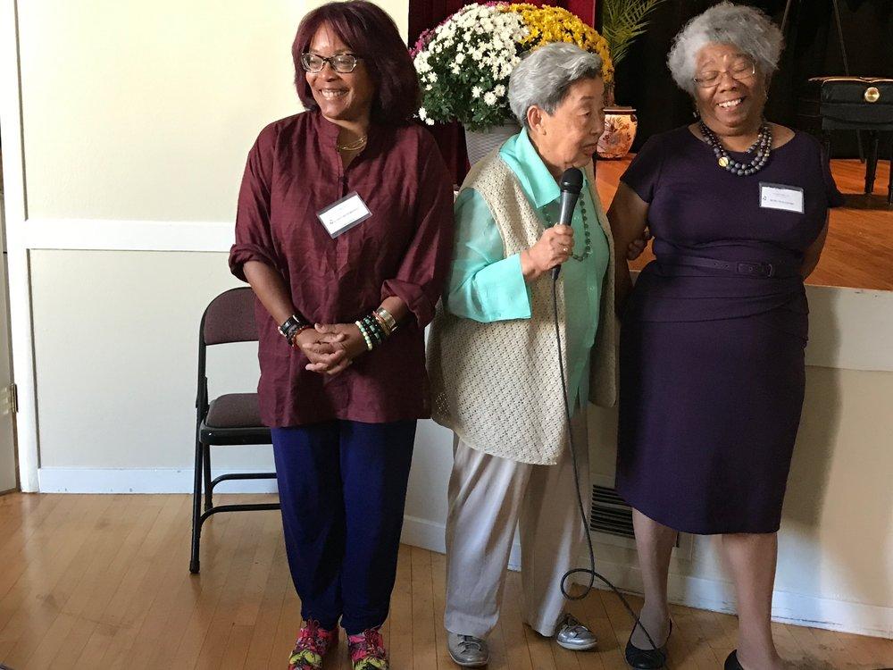 ruby Pleasure - 2017 BMC Honored Teacher (with Karen Hutchinson and Roz Koo, BMC Co-Presidents)