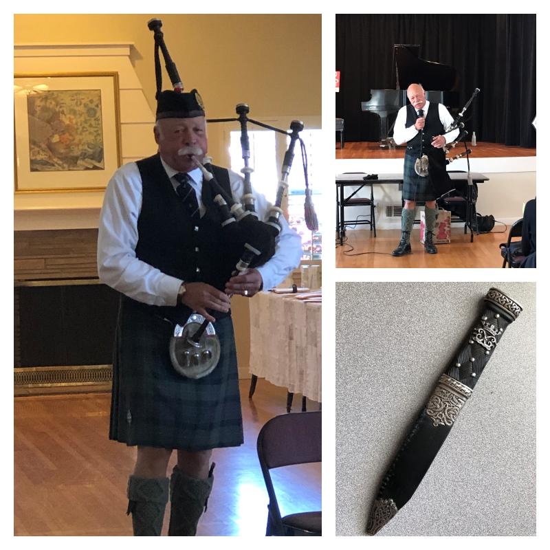 Note the 100 year old Sgian Dubh Scottish Dirk Knife Dagger in Lynne's sock.