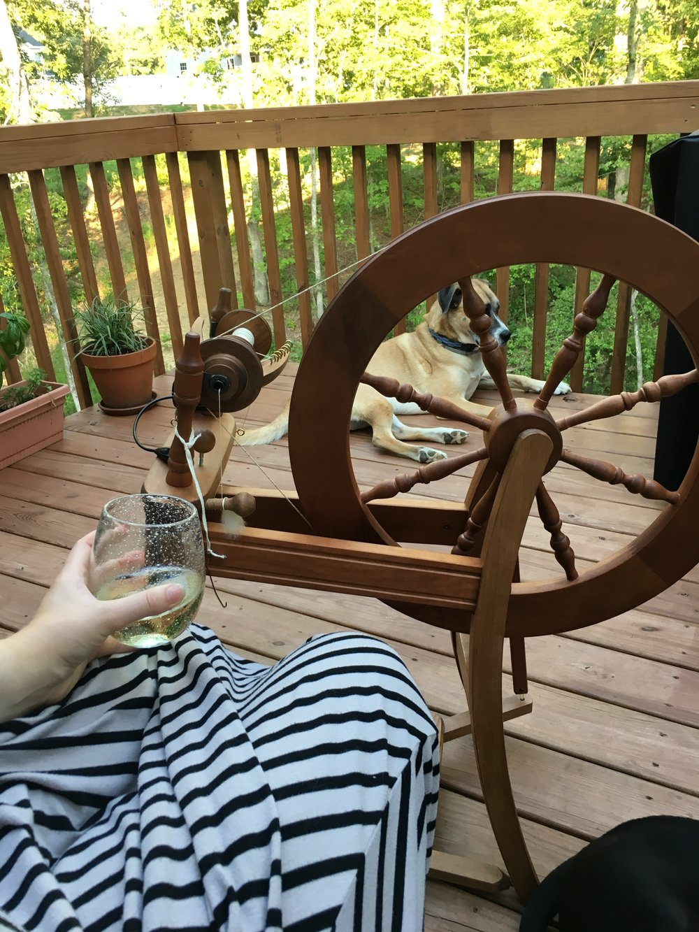 Spinning on the deck - Spinning can be so relaxing, bringing it outside and adding a glass of wine just adds to the relaxation.