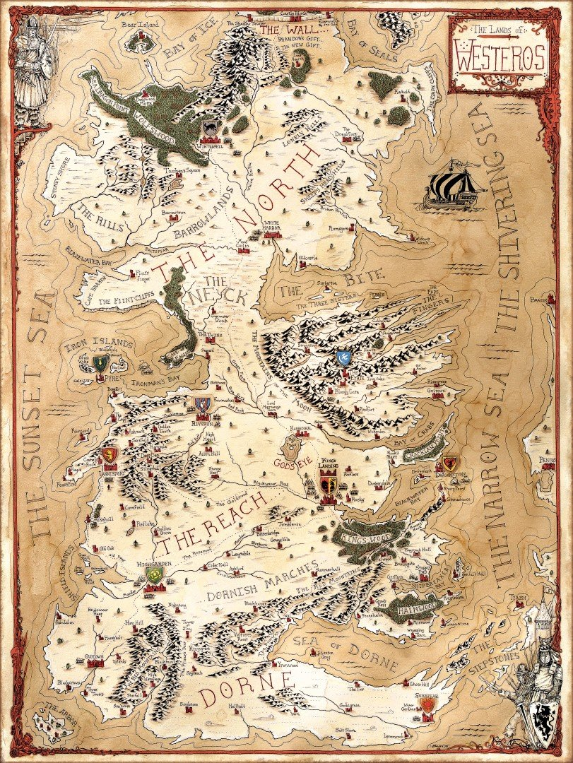 graphic relating to Printable Map of Westeros titled Westeros: The Lands of A Music of Ice and Hearth Jared Blando