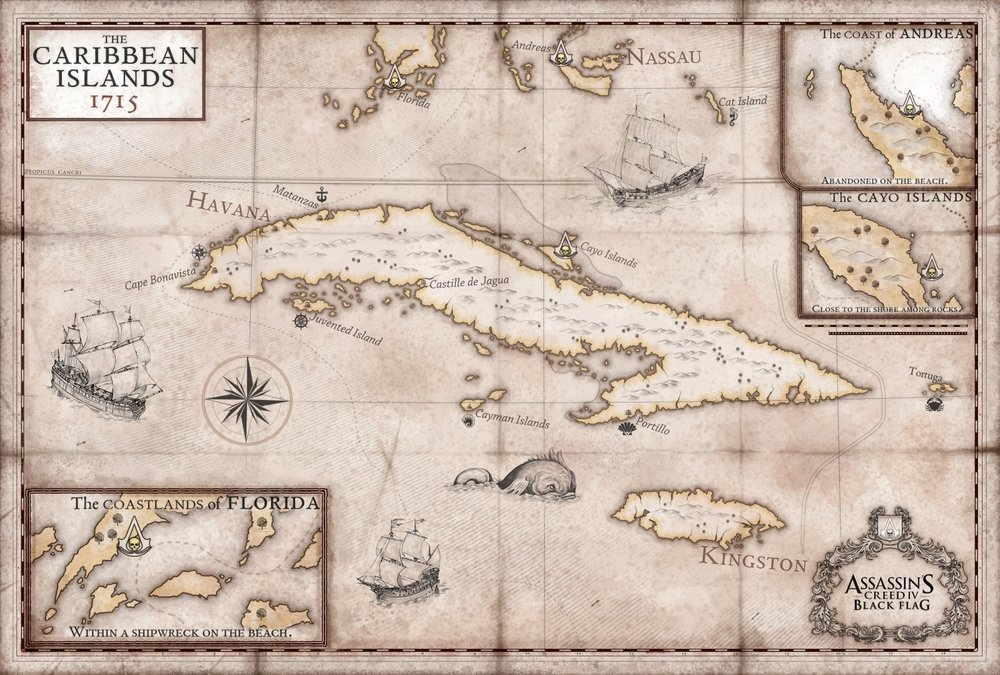 Assassin's Creed: Black Flag Poster Map