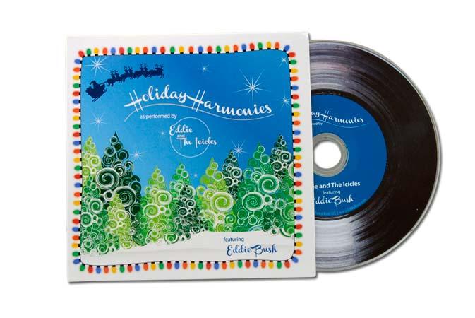 CD artwork reminiscent of vintage Christmas artwork for South Carolina musician Eddie Bush's Christmas album.