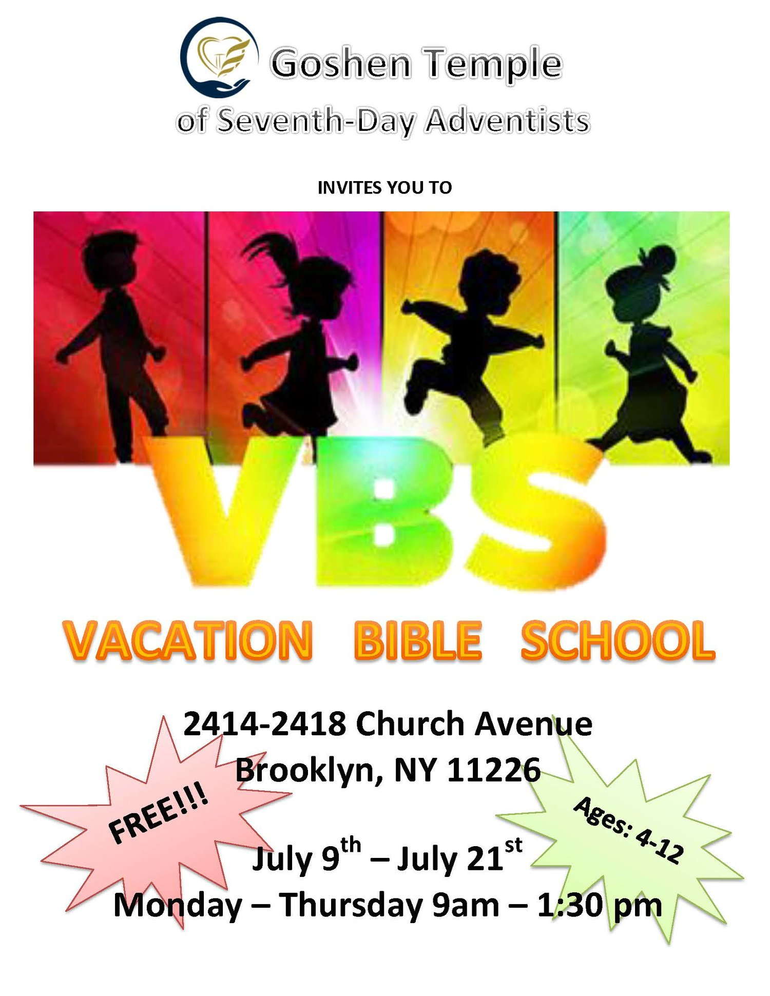 Vacation Bible School — Goshen Temple of Seventh-day Adventists