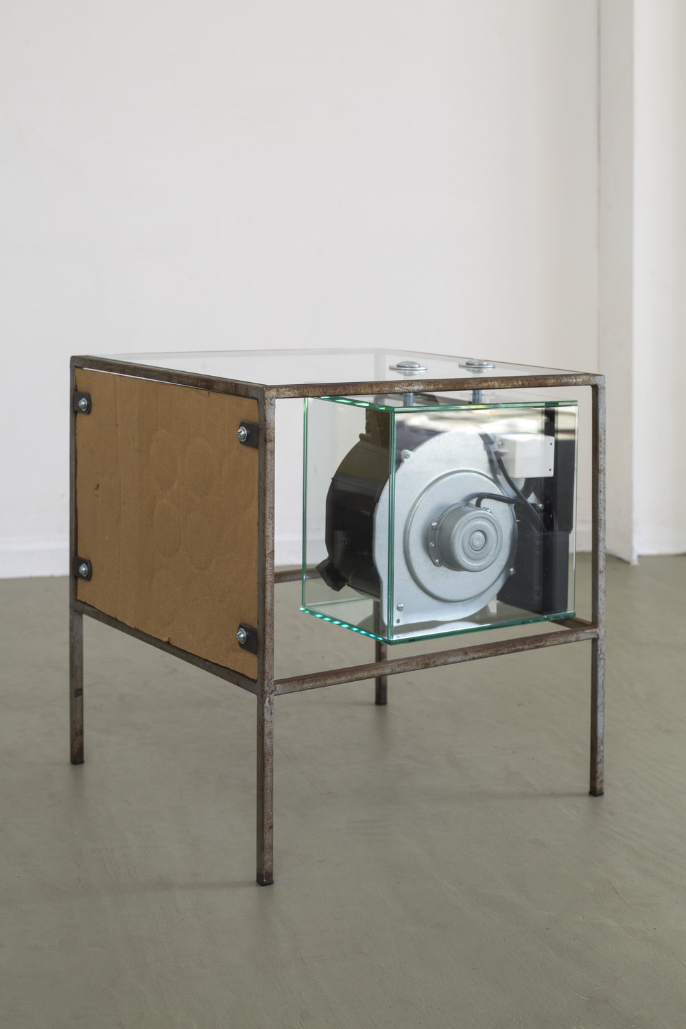Transport 1918,  2015. Steel table frame, centrifugal fan blower system, polystyrene sign, cardboard, adhesive advertising mesh, various hardware. 18 x 18 x 21 in.