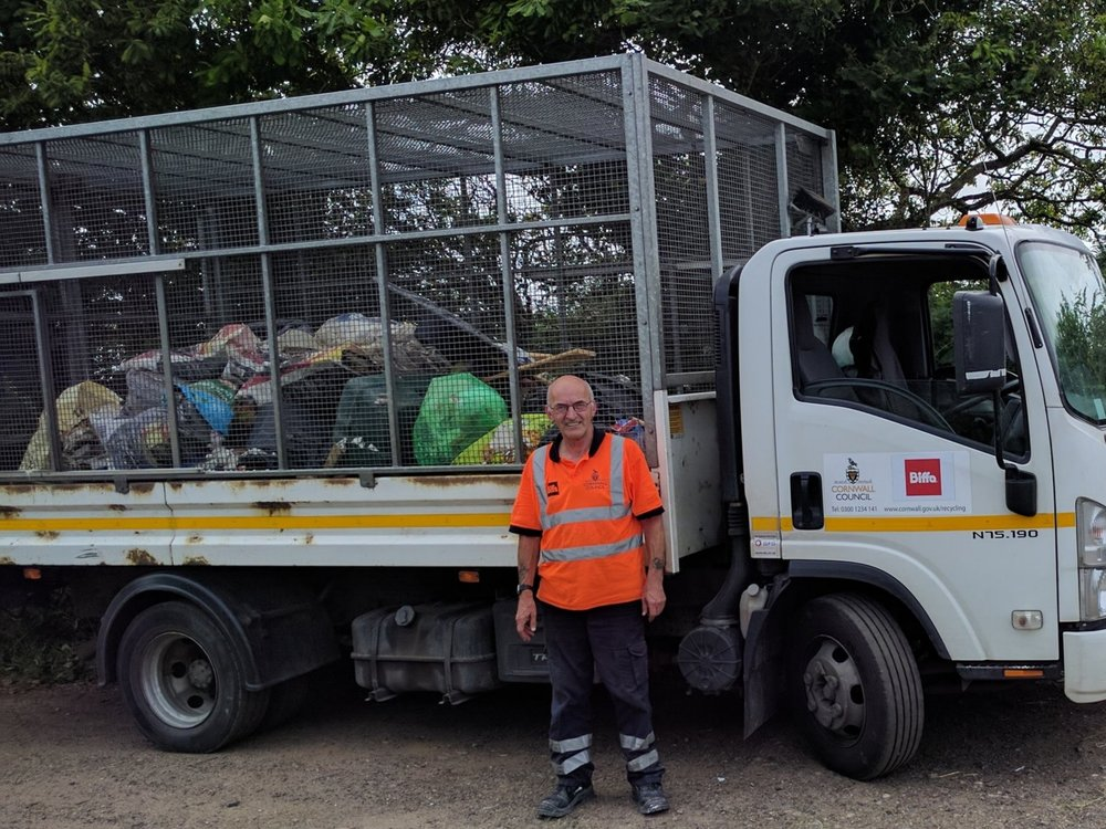 This whole lorry-load of rubbish was dumped in a layby in Lanlivery last year.