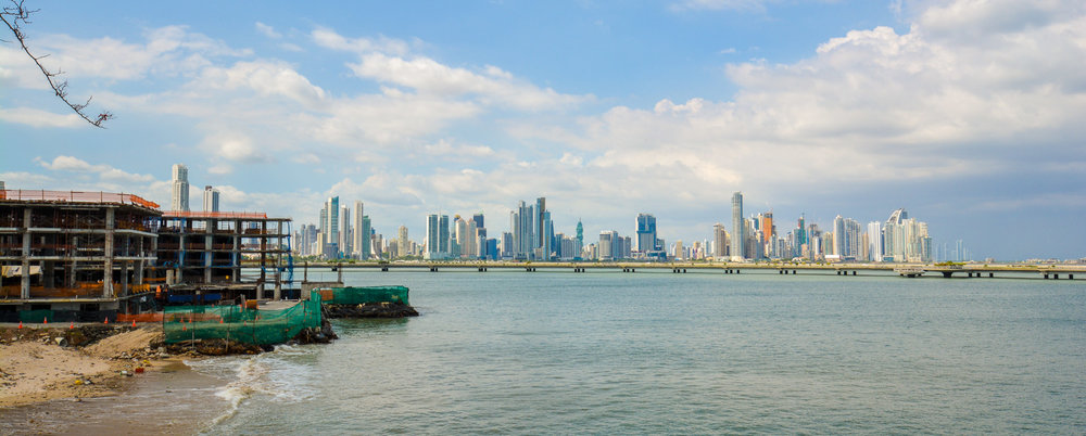 The Panama City skyline and the ongoing construction in Casco Viejo