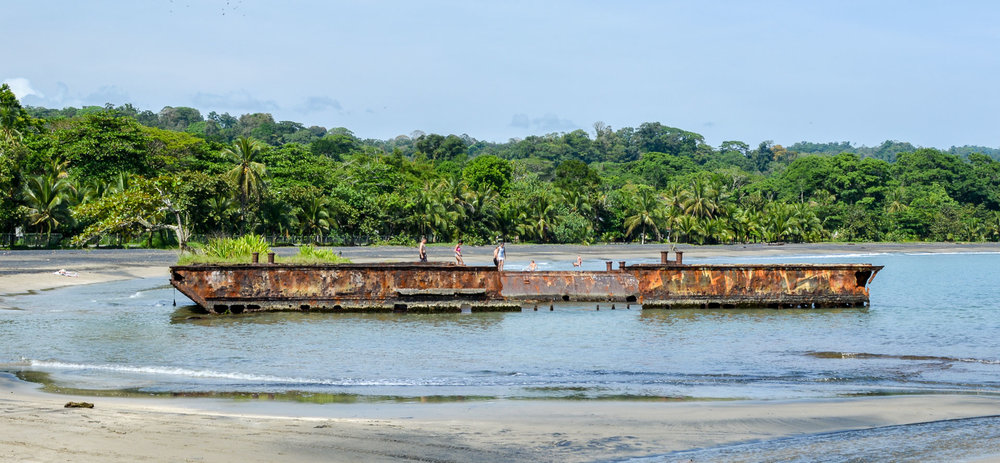 The first thing you notice when driving into Puerto Viejo is the old ship that has washed ashore