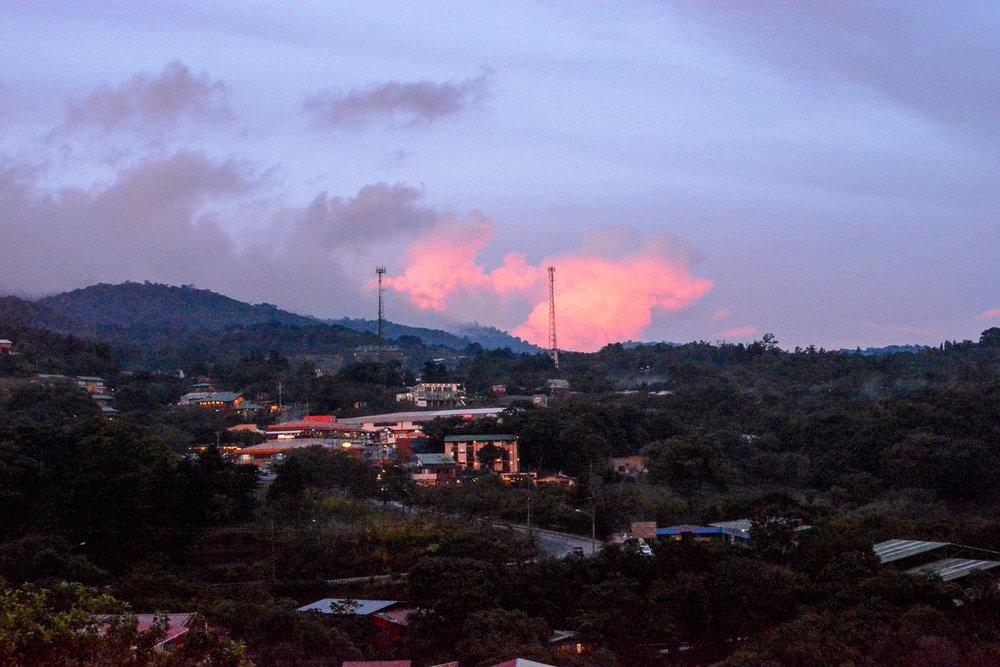 Sunset on the town of Santa Elena