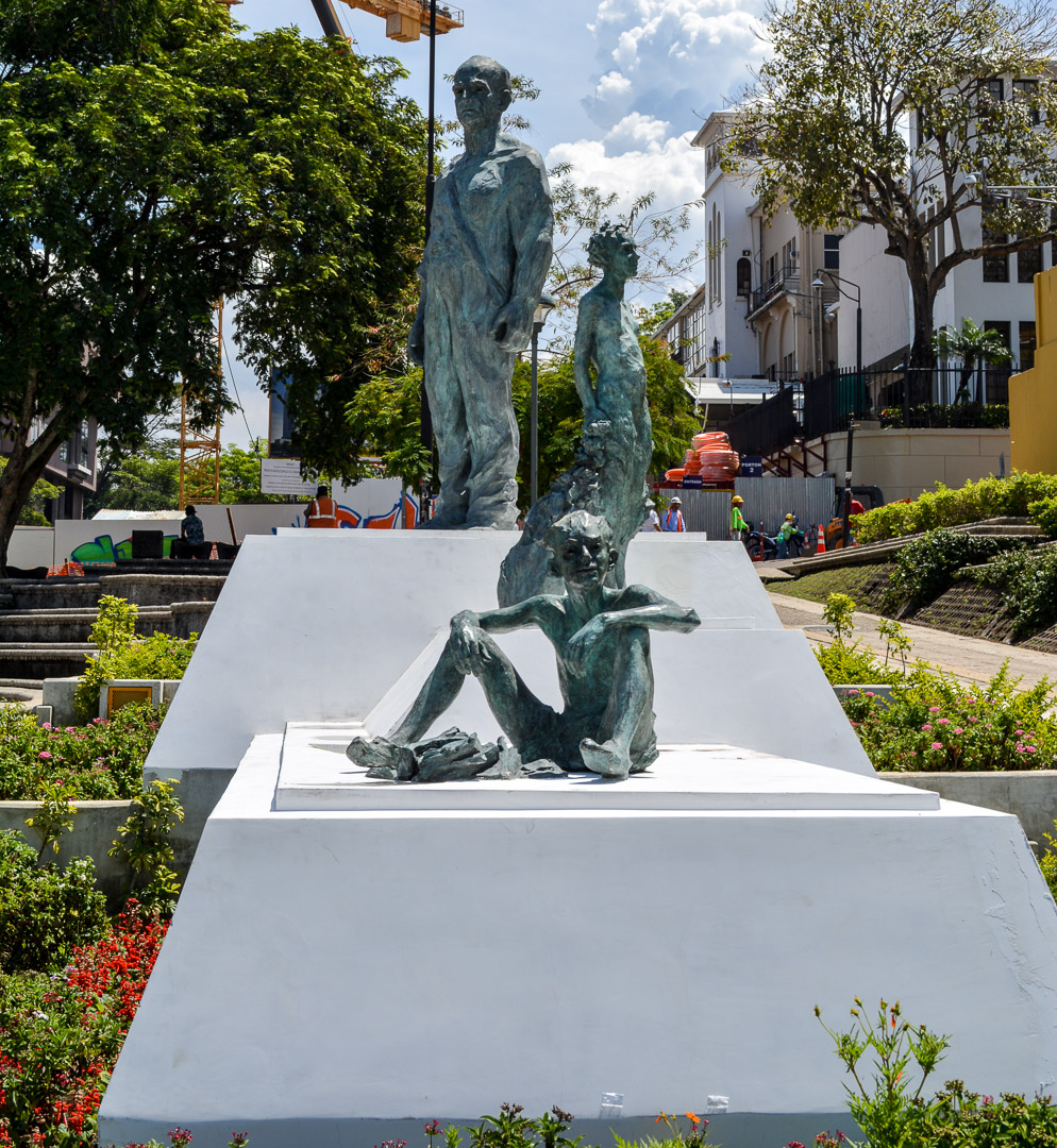 Sculpture depicting a boy growing up