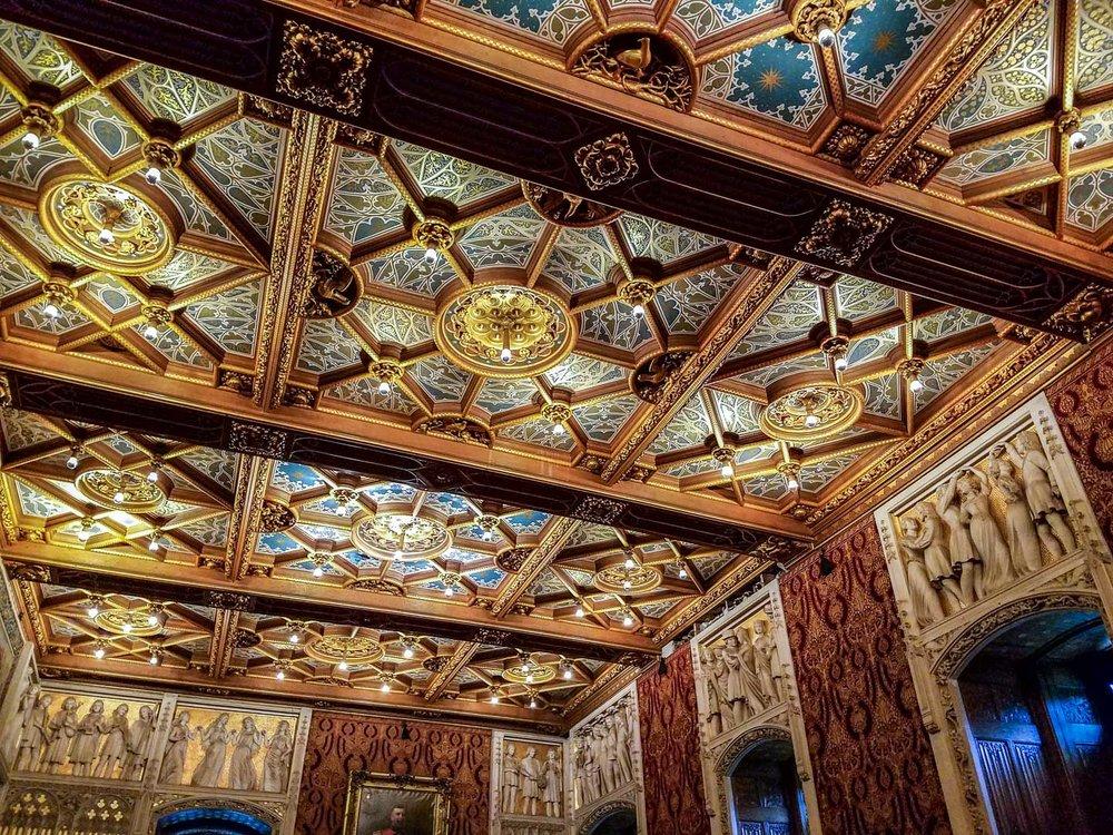 Ornate ceiling in the ballroom