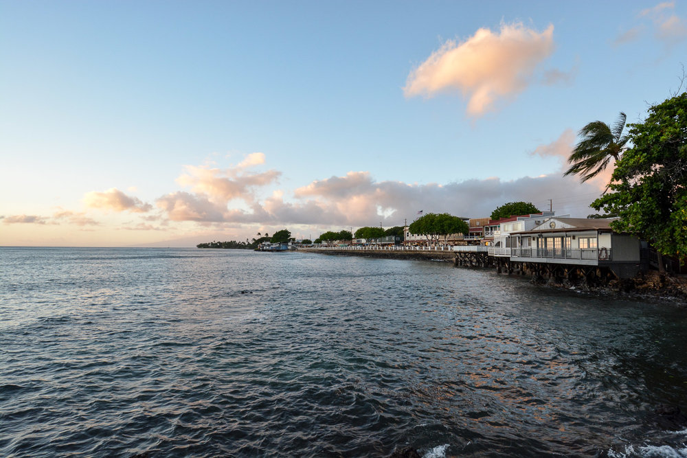 A view of Lahaina overlooking the sunset