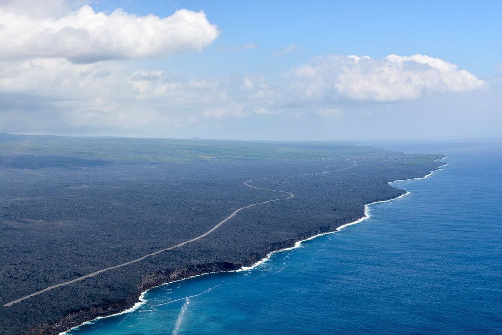 New land created by lava. Since 1983 over 500 acres of new land has been created from lava flows