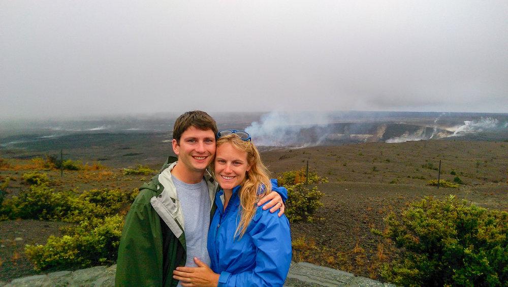 Overlooking the Halema'uma'u Crater in the Kilauea Caldera