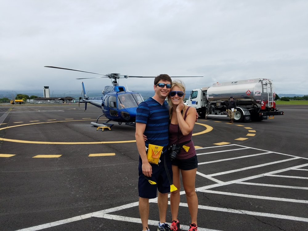 Our helicopter and guide with Blue Hawaiian