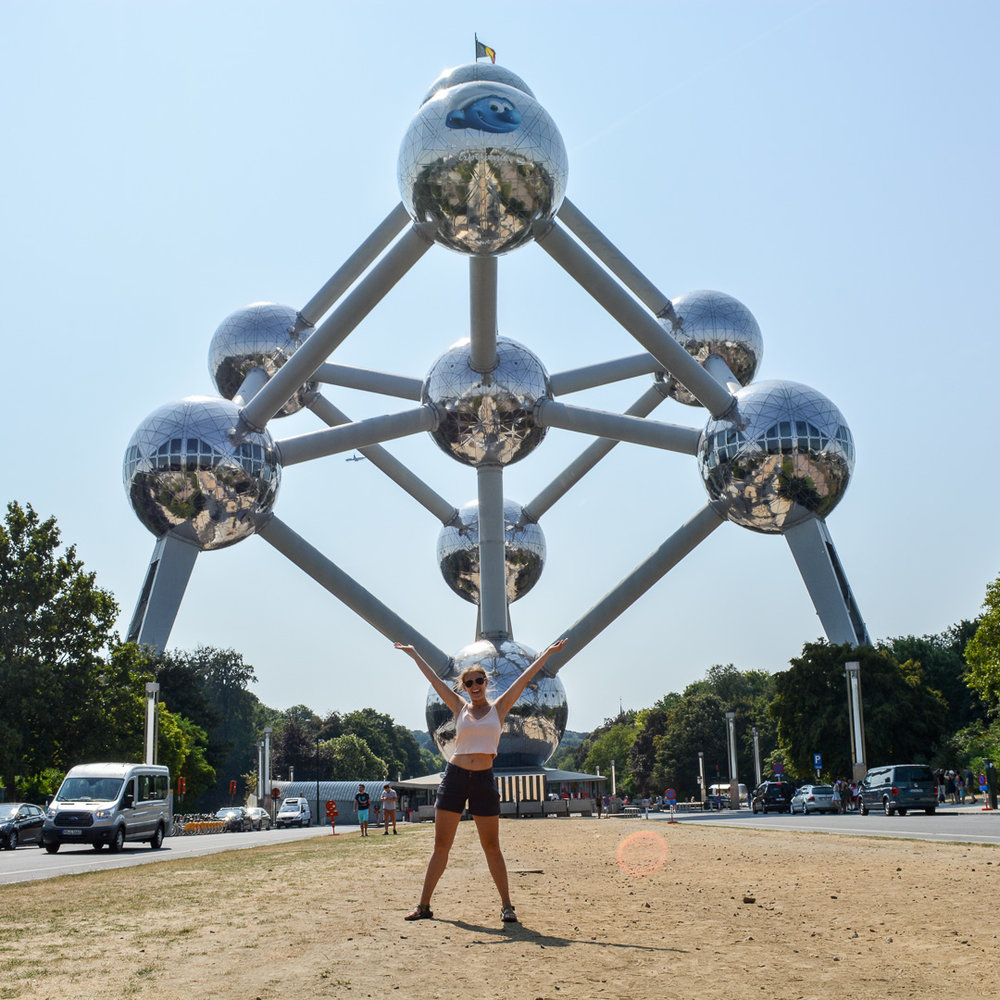 There was a smurf on the middle atom for the newly released smurf movie because you can't get away from advertisements even at Atomium!