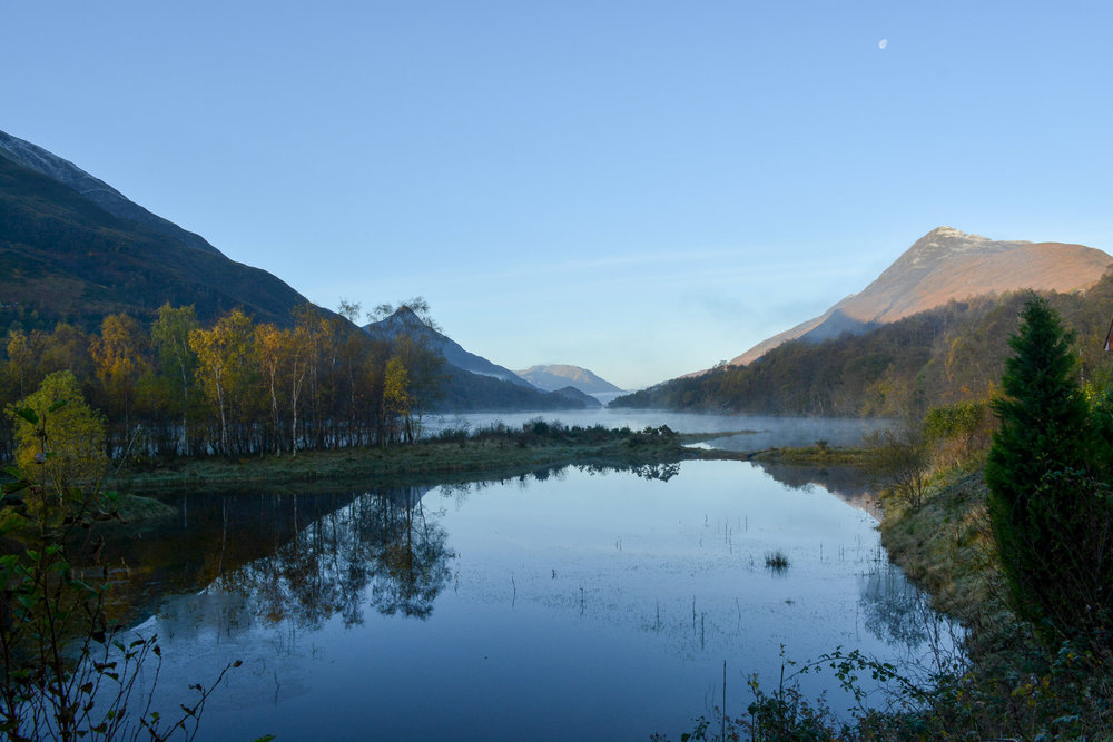 Morning fog on the lake and moon still in the sky when we set out on our eight and final day on the trail…