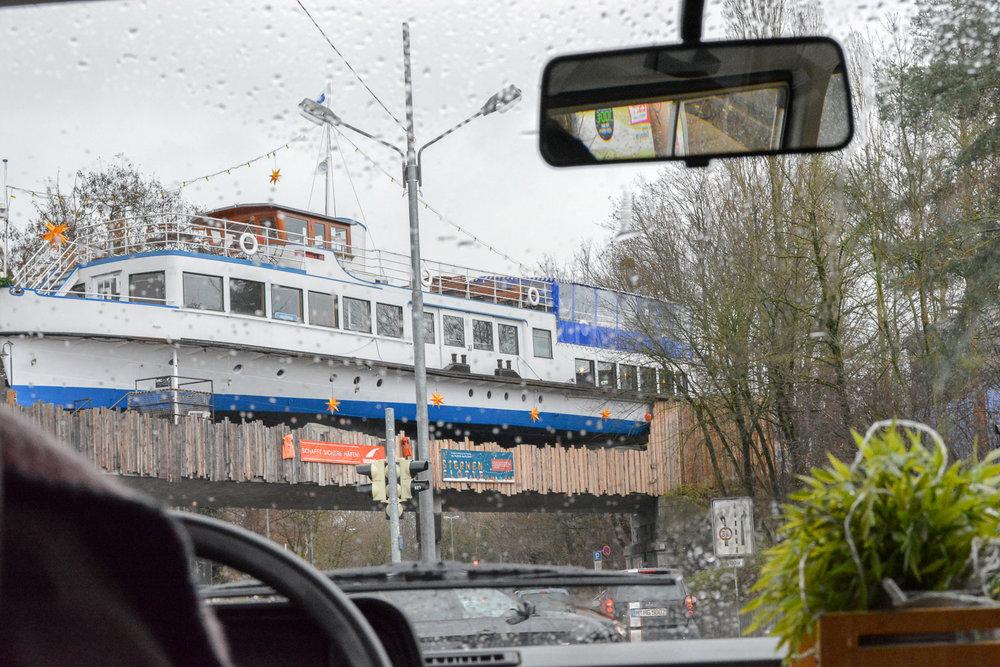 A bar in the form of a boat on top of a bridge! What a weird sight haha