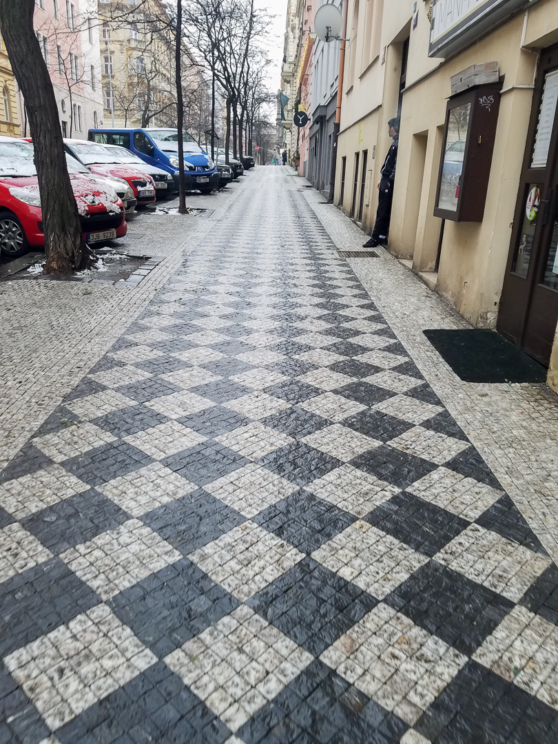 The sidewalk pattern caught our eyes!