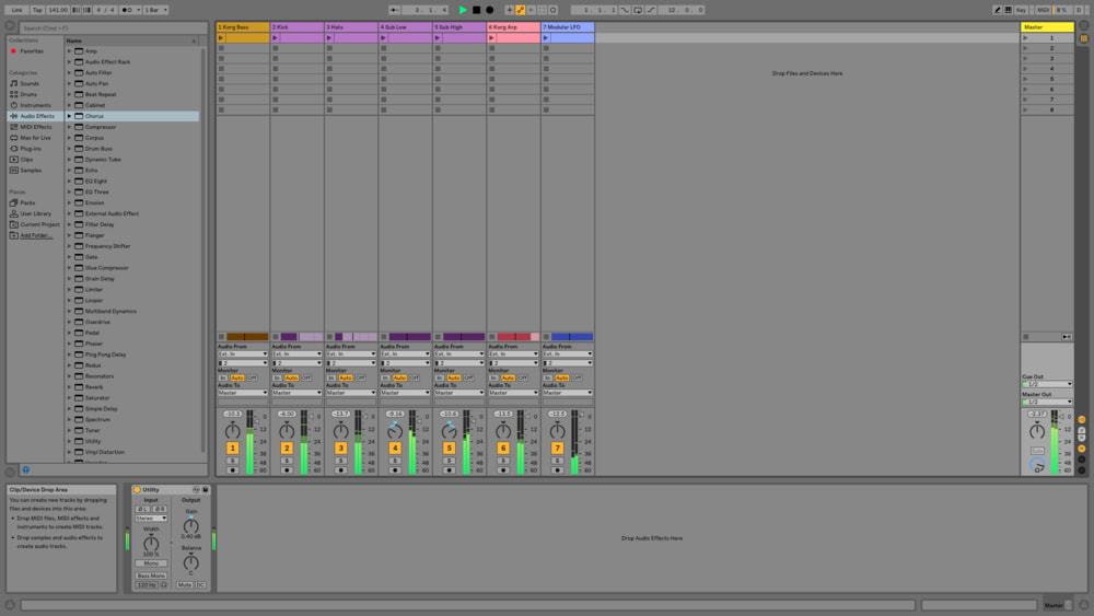 Spread some elements out panned left and right on the audio spectrum because if you were sampling a real record, it would come into your DAW as a stereo file.