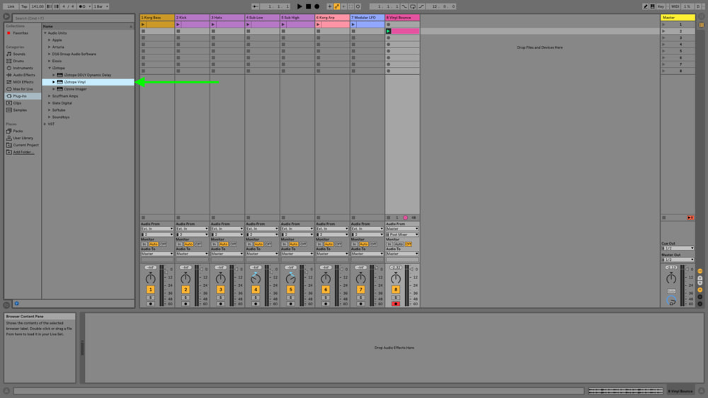 If you don't own the plugin, you can download it for free or you can also substitute Ableton's stock Vinyl Distortion plugin.