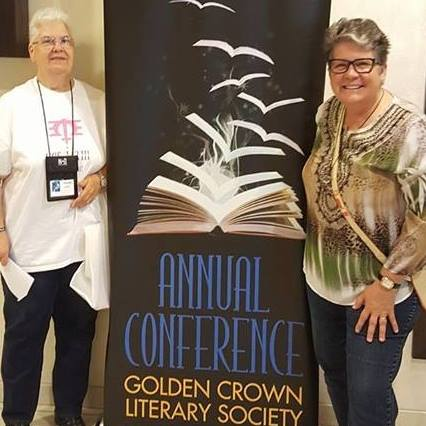 Authors Verda Foster and Reba Birmingham at the Golden Crown Literary Society's annual conference in 2017