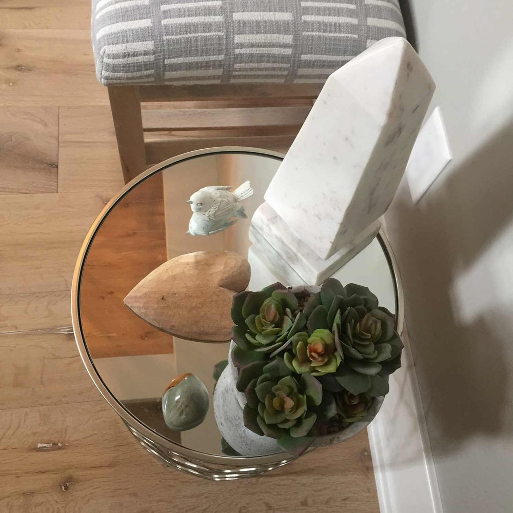 Succulent, obelisk and table from HomeGoods