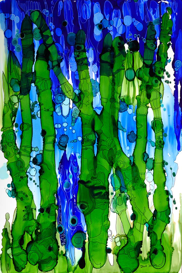 """View From River Bottom"" - abstract painting by Dawn Johnson"
