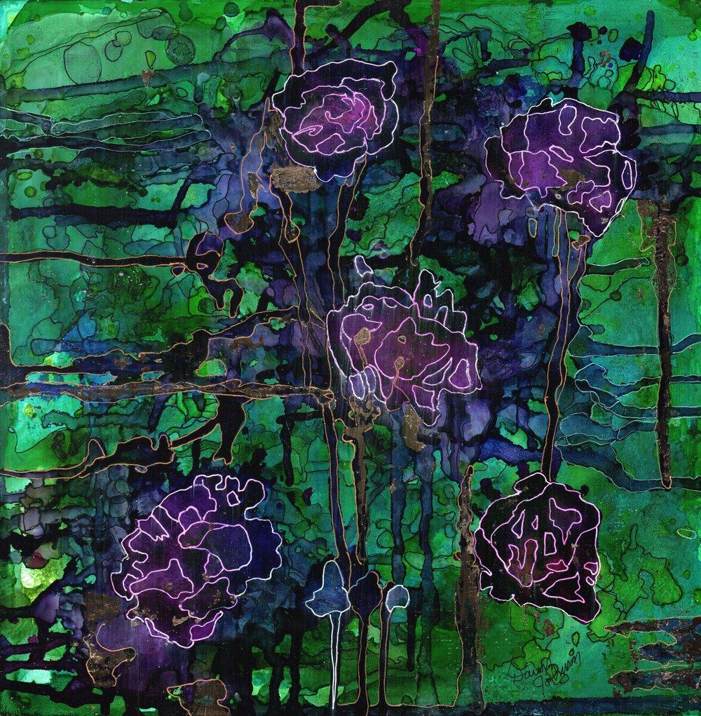 Urban Blooms   - ink on gessoed wood panel