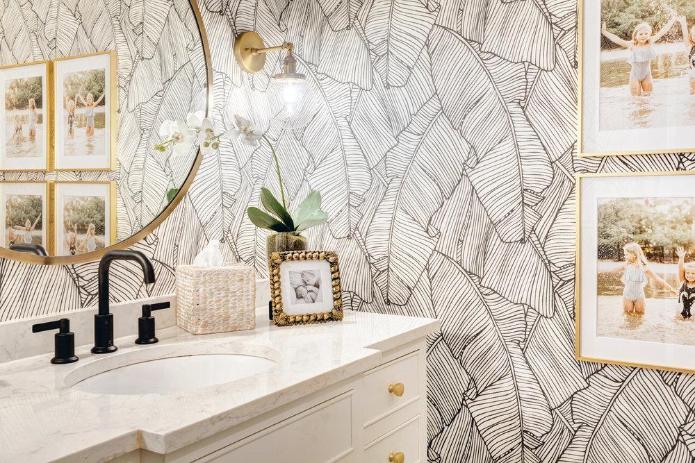 Palm Leaf Wallpaper Bathroom By Designer Nicki Pasqualone, Sponsored By  Walls Republic