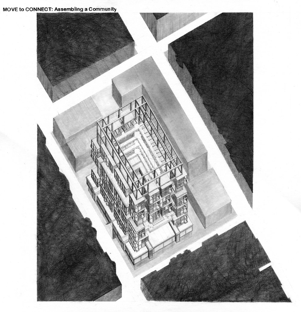 BUILDING AXONOMETRIC / Graphite Rendering