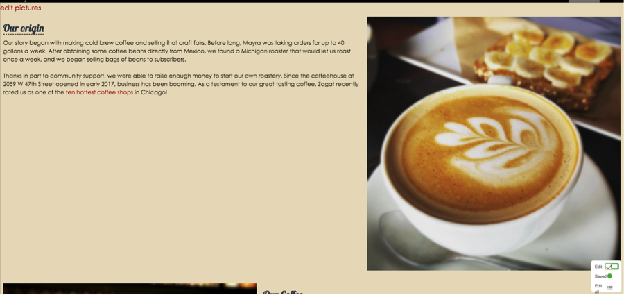 Editable Content - Enable employees to edit text and photos on the about us page