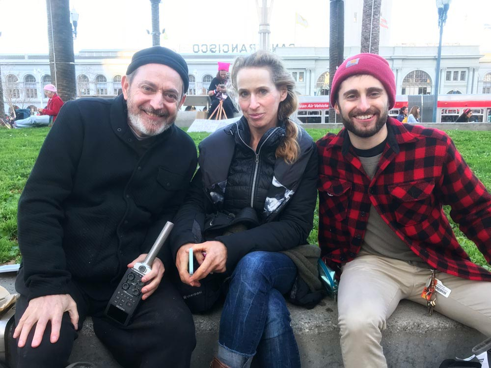 Me, Debra Schwartz and Tom Mascia, exhausted after walking, talking and filming for 5 hours in San Francisco.