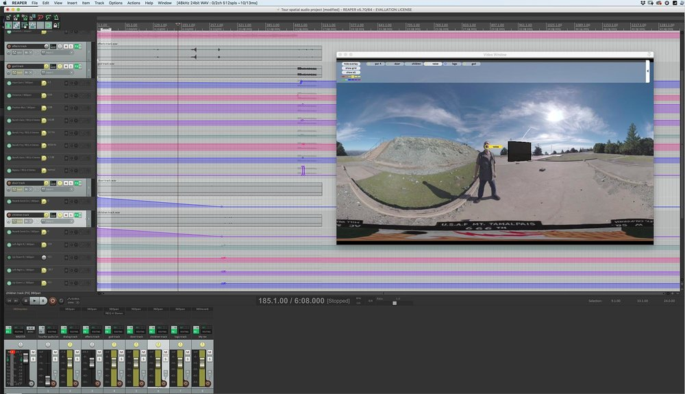 "You can see the yellow puck (labeled ""voice"") for the dialog track over my face in the equirectangular video viewport, and each of the six other tracks at the bottom of the screen, along with the video track and the reverb track."