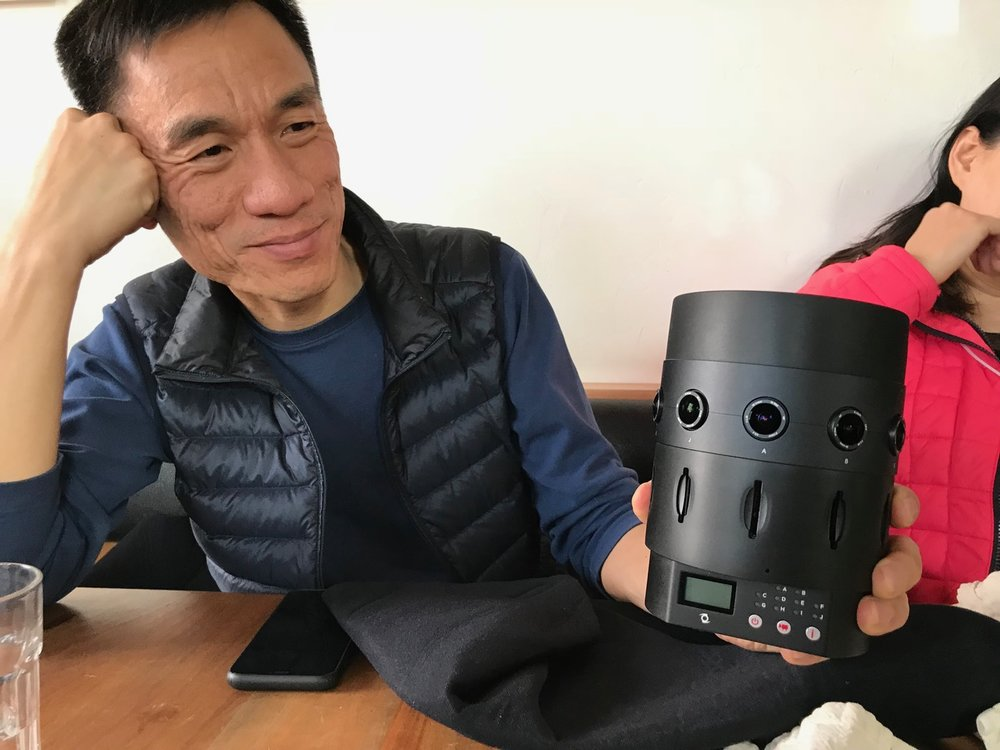 Kinson Loo with the pro-production version of the V1 that later was sent to me, at Piccino in SF on February 14, 2018.