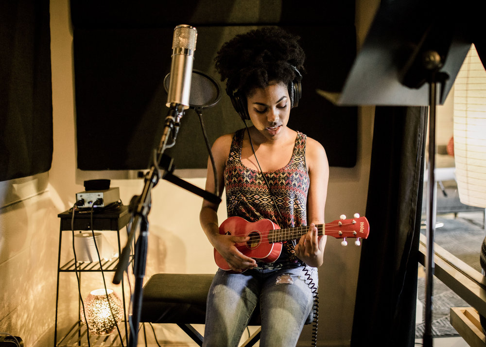 "Jamee McAdoo recording her song, ""Admire Me"" - Summer 2018 (photo by Katie Childs)"