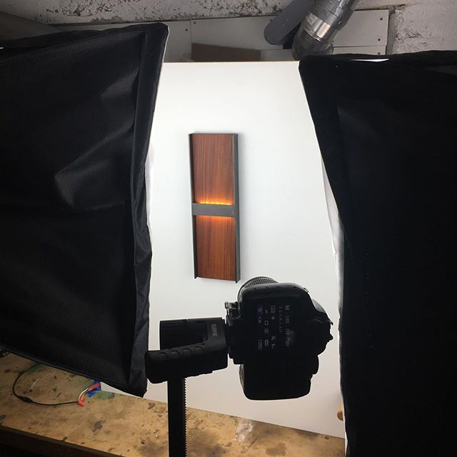 Shooting a new wall sconce.. #madehere #modern #steel #interiordesign #wallsconce