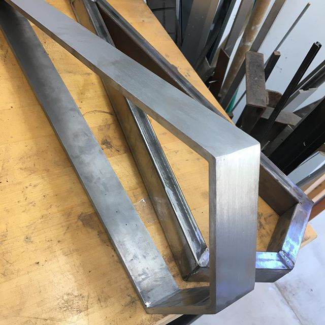 The WS 1 fresh off the mold. #steel frame with traditional darkening #patina and an integrated #led light source  #madehere #interiordesign #interiordesigner #modern #design #designer #interiordesign #interiordesigner #lighting #lightingdesign