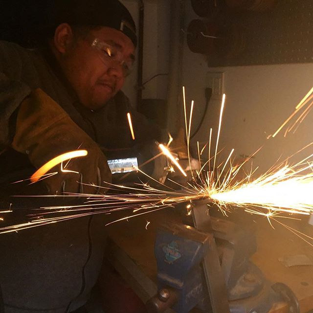 @randomistheplan in the shop.. grinding some #steel. Always a good vibe to have in a creative space  #madehere #interiordesign #interiordesigner #modern #lighting #lightingdesign #