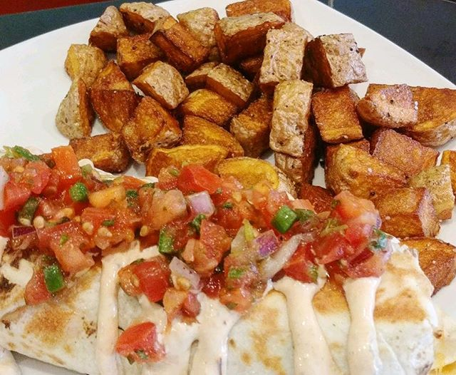 There's still time to get a delicious brunch in today! Grab a Southwest breakfast burrito with egg, Jack cheese, green chile in a flour tortilla, topped with zesty chipotle sour cream and pico.
