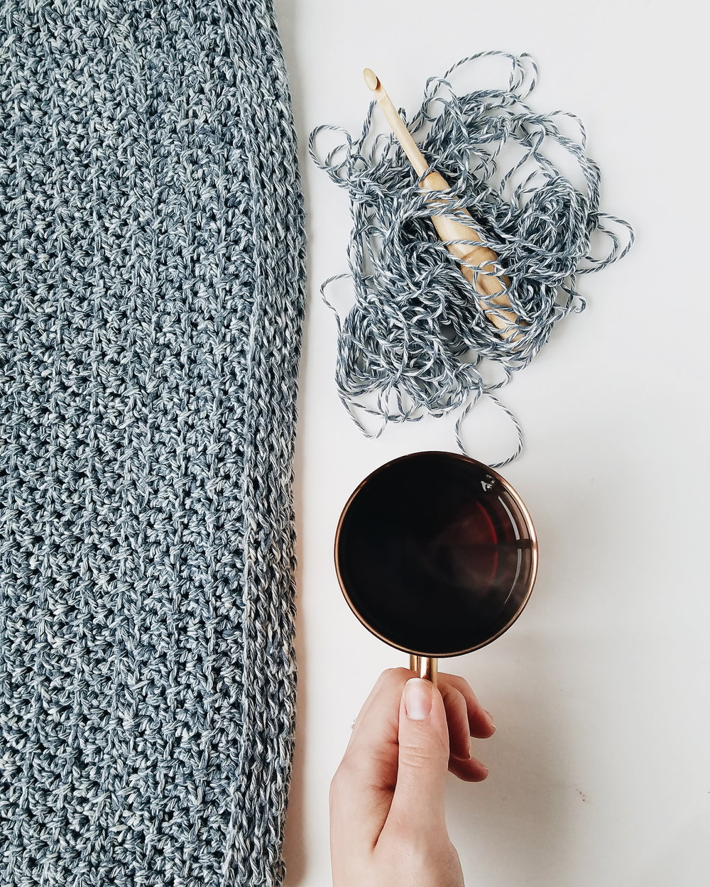 The Yarn I chose. - I love denim (it's in my business name if that doesn't tell you), I have a lot of it in my wardrobe, pants, jackets, shirts. I kinda thought it would be fun to have a denim sweater. Like, how many people can say,