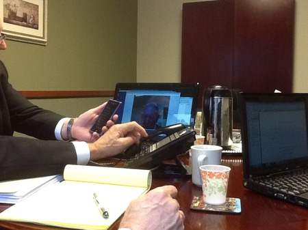 Photo: At the arbitration before State Farm's special video connect program (not skype) failed to work.