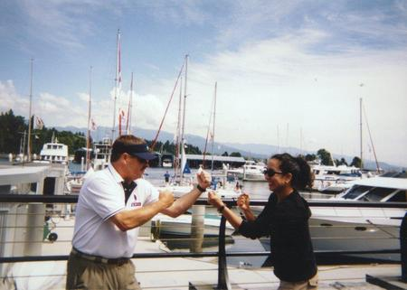 Photo: My law partner Keith Kessler and I pretend-angrily squaring off before a boat race at a WSTLA (now WSAJ) convention -the year before I joined the firm.
