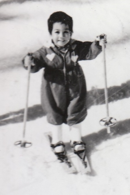 Photo: Baby Karen in heart ski suit, no gloves, wooden skis with interesting straps and apparently, snow boots.