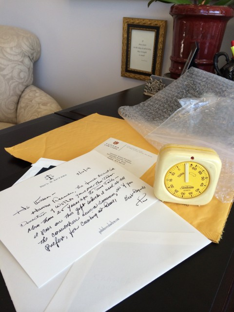 Photo:  Mailing wrapper of Sunbeam timer and Paul N. Luvera's note.