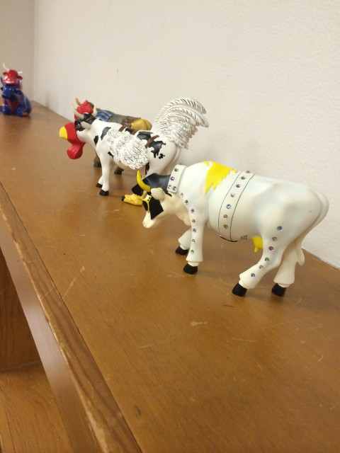 Photo:  The Court's cow collection on the shelf behind us.