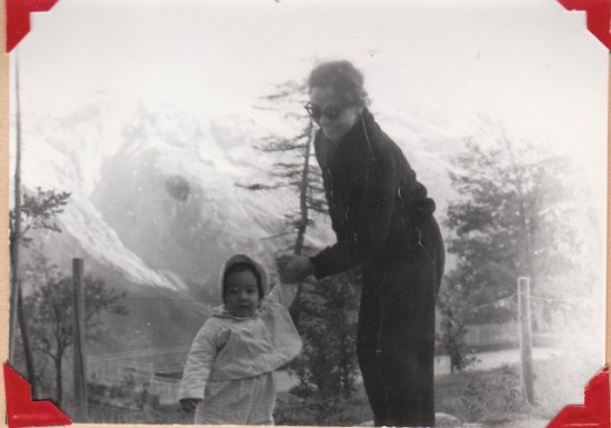 Photo:   Mom (Mary Fung Koehler) and I in Switzerland