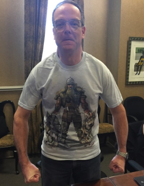 Photo:  Dan wore this outfit to our last attorney meeting.  I want his shirt.