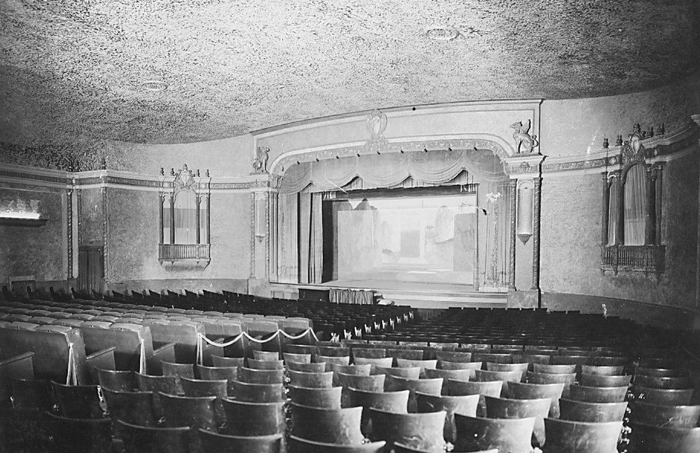 - View of the original interior showing the proscenium arch.